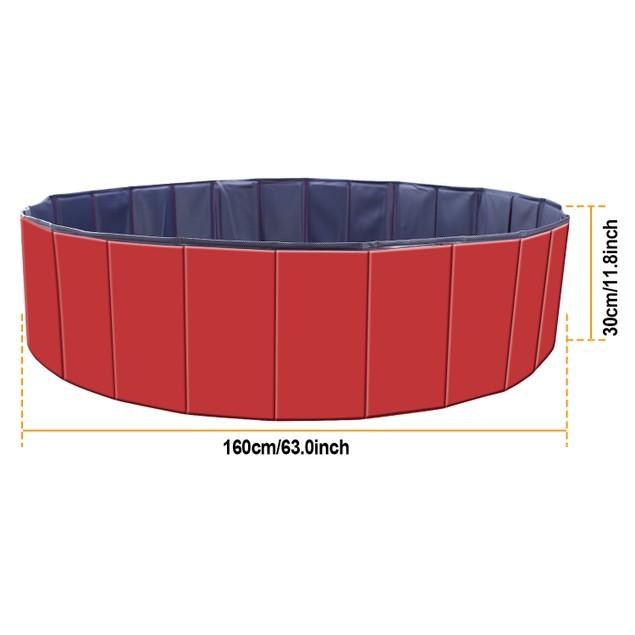 63.0 x 63.0 x 11.8in Foldable Pet Swimming Pool PVC Kiddie Baby Dog Pool