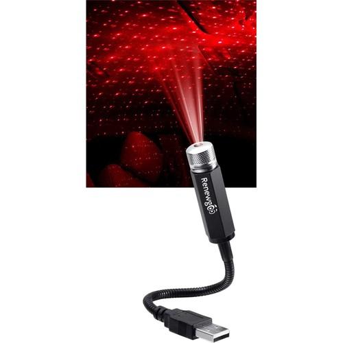 Renewgoo Universal USB LED Star Projector Neon Car Roof Interior Light, Red