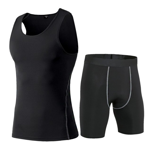 COMPRESSION TANK TOP AND SHORTS FOR MEN ODOLAND MUSCLE BASELAYER SLEEVES