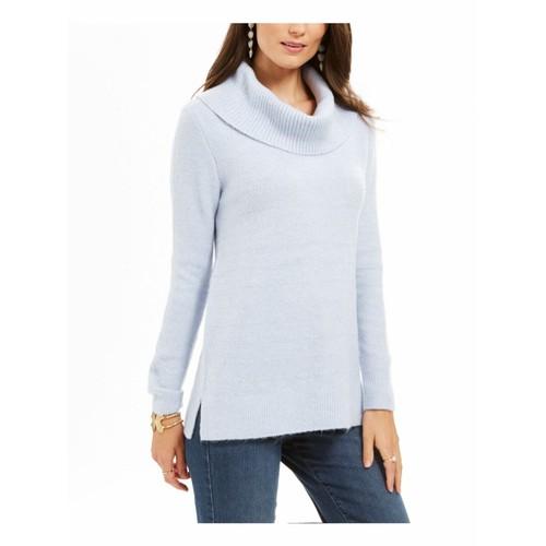 Style & Co Women's Lurex Cowl-Neck Sweater Light Blue Size Large