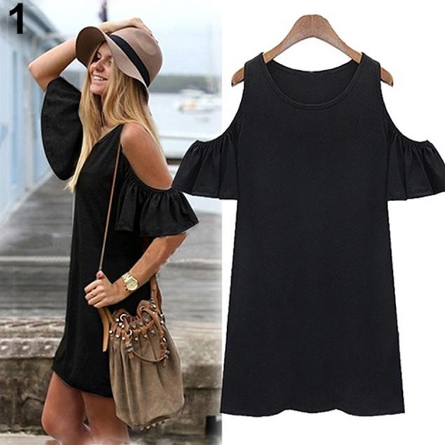 Women Butterfly Sleeve Cotton Cute Strap Dress