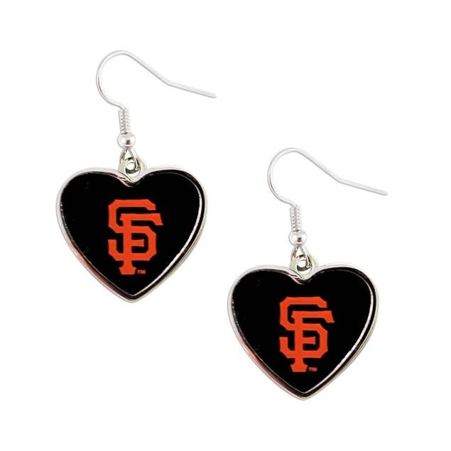 MLB SAN Francisco Giants Heart Shape Dangle Logo Earring (Not Swirl)