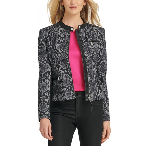 DKNY Women's Snake-Embossed Faux-Leather-Trim Jacket Gray Size 10