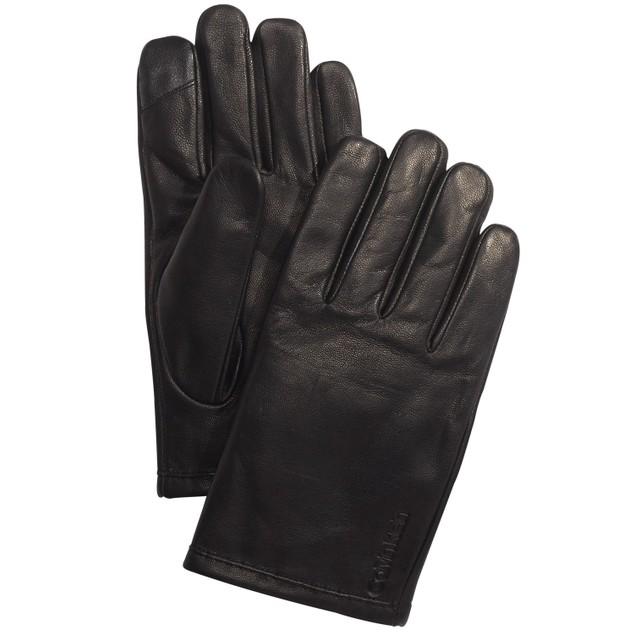 Calvin Klein Men's Leather Touch-Screen Gloves Black Size Medium