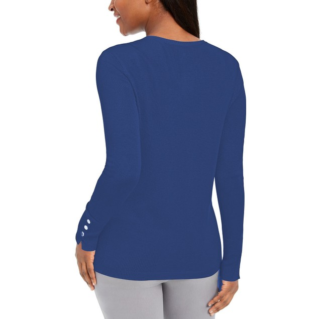 JM Collection Women's Button-Sleeve Crew-Neck Sweater Blue Size Small