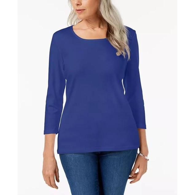 Karen Scott Women's Scoop Neck Top Blue Size X-Small