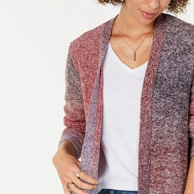 Style & Co Women's Ombre Open-Front Cardigan Red Size Medium