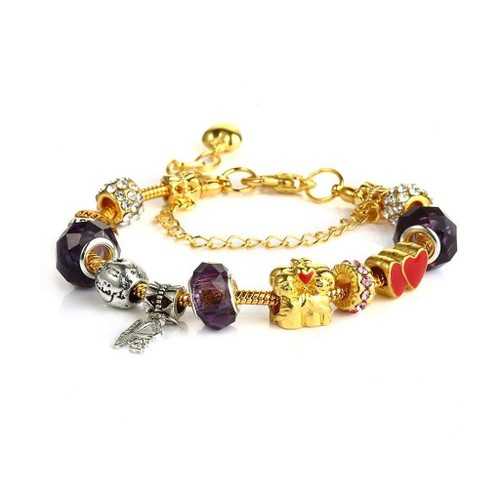 Novadab Together Forever Charms Bracelet With Initial And Birthstone