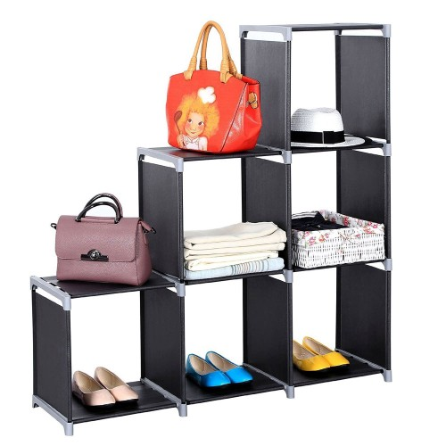 Multifunctional Assembled 3 Tiers 6 Compartments Storage Shelf Black