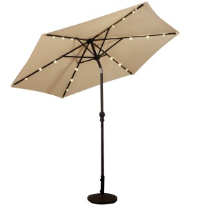 9FT Solar LED Patio Umbrella Steel Tilt W/ Crank