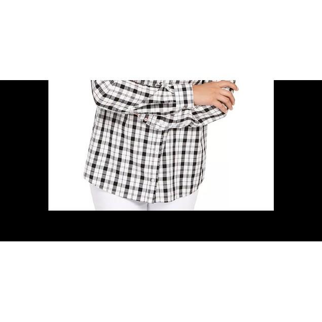 Charter Club Women's Cotton Plaid Shirt Black Size Small