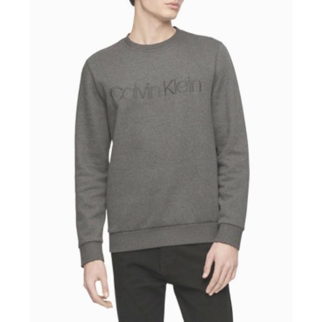 Calvin Klein Men's Tonal Embroidered Logo Fleece Sweatshirt Gray Size Large