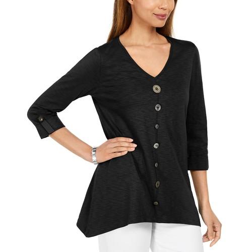 JM Collection Women's Button-Front Textured Top Black Size Large