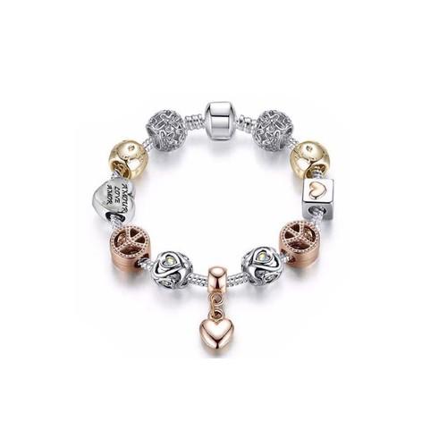 18K Gold Plated Crystal Heart Charm Bracelet