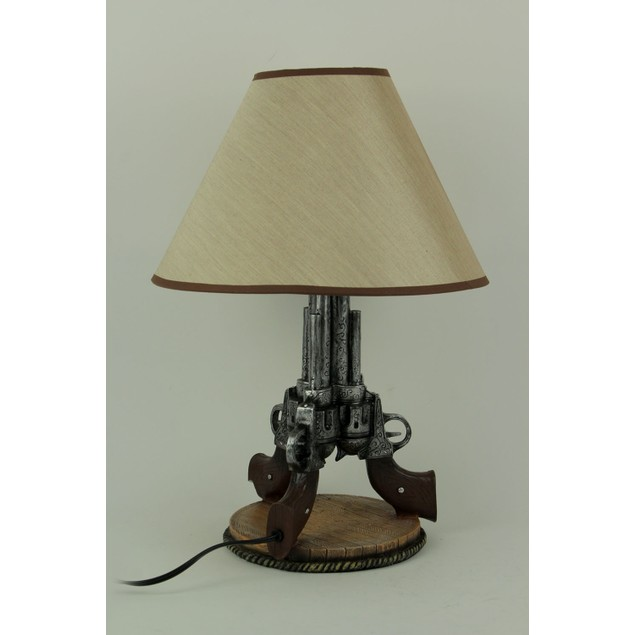 Old West Triple Six Shooter Revolver Table Lamp Table Lamps