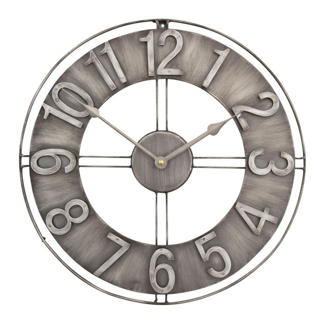 "Studio Designs Home 15"" Industrial Loft Wall Clock in Brushed Steel"