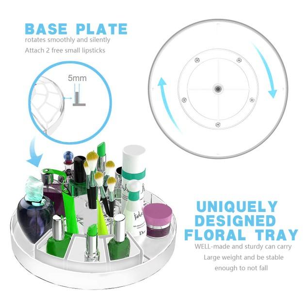360 Degree Rotation Cosmetic Organizer Storage Box, Pure White (Updated Style)