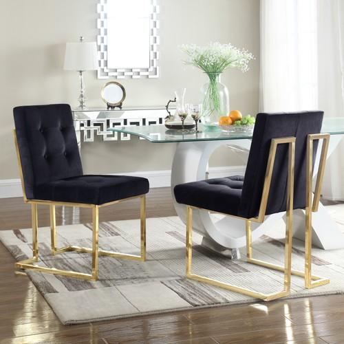 Chic Home Mason Velvet Brass Metal Frame Dining Side Chair (Set of 2)