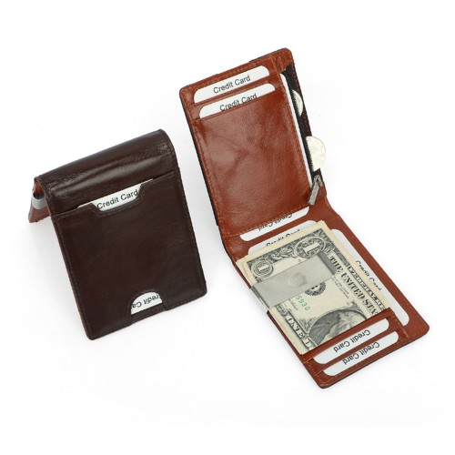 Real Leather Slim Wallet with Money Clip RFID Blocking