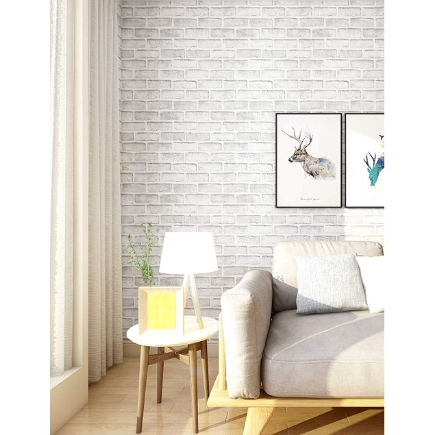 "White Gray Brick Wallpaper, 3D Effect Vintage Blocks Peel and Stick Wallpaper, 17.7"" x 32.8ft"