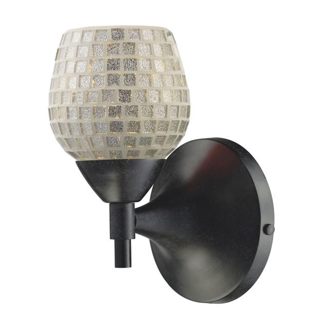 ELK Lighting Celina 1 Light Sconce In Dark Rust And Silver Glass