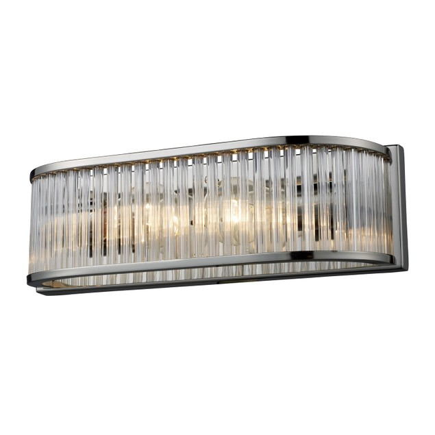 Braxton 2 Light Vanity In Polished Nickel And Ribbed Glass Rods