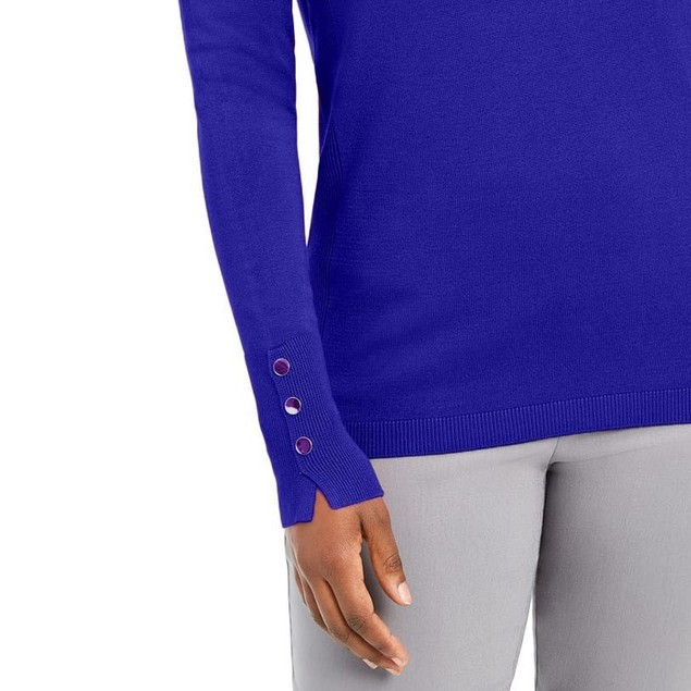 JM Collection Women's Button-Sleeve Crew-Neck Sweater Blue Size Extra Large