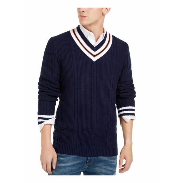Club Room Men's Textured Cricket Sweater Dark Blue Size XX-Large