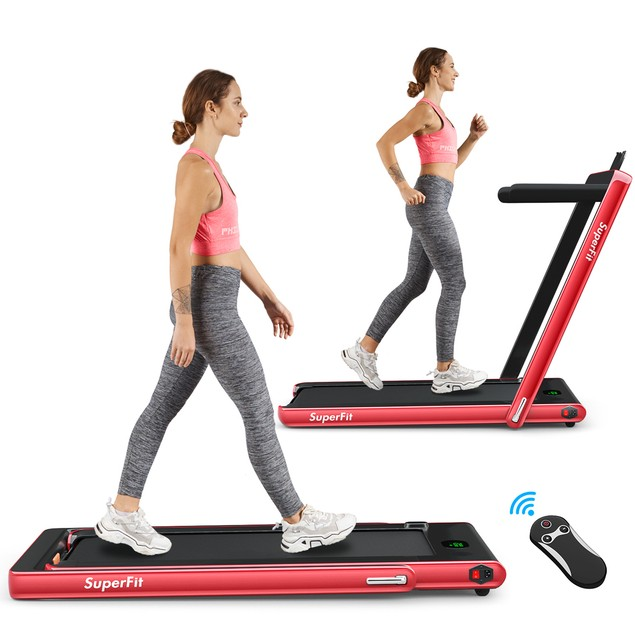 Superfit 2-in-1 Folding Treadmill with Bluetooth Speaker Remote Control