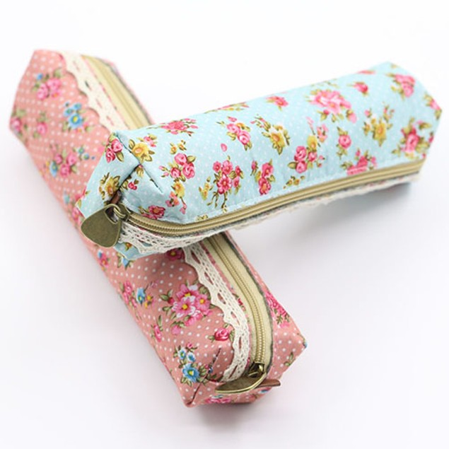 Fashion Flower Floral Lace Pencil Case Cosmetic Bag