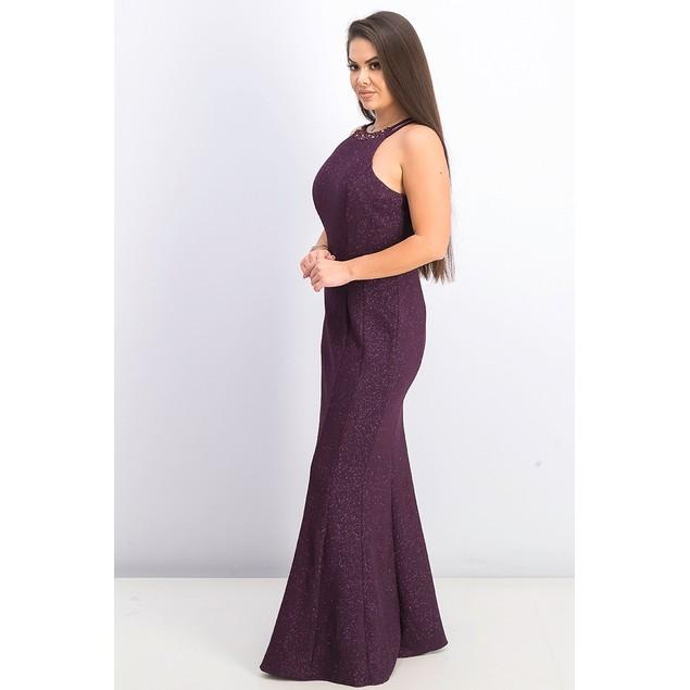 Nightway Women's Glitter Knit Gown Dark Purple Size 4