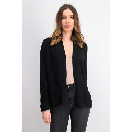 Charter Club Women's Cotton Open-Front Cardigan  Black Size Extra Large