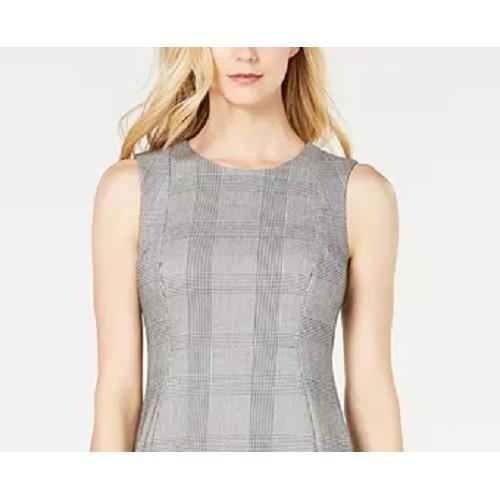 Calvin Klein Women's Plaid Sheath Dress Gray Size 6