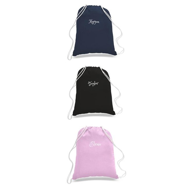 Personalized Cotton Drawstring Backpacks -Travel /Beach Bag /Gym