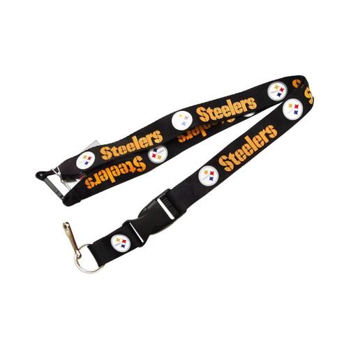 NFL Lanyard Keychain Batch Id Holder Pittsburgh Steelers - Black