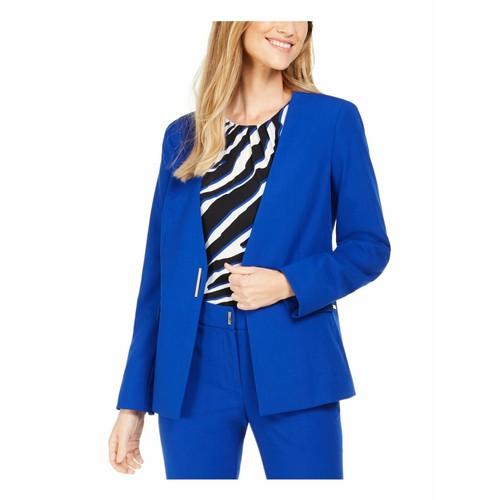 Calvin Klein Women's Collarless Single-Snap Blazer Blue Size 16