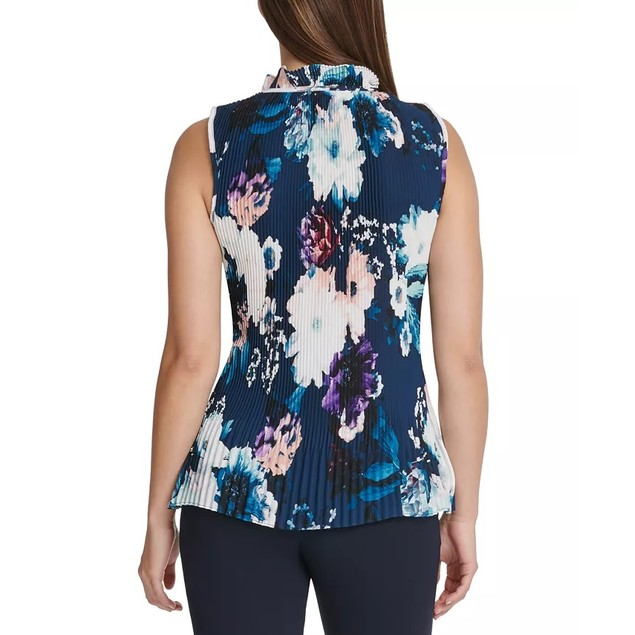 DKNY Women's Petite Floral Pleated Tie-Neck Top Blue Size X-Large