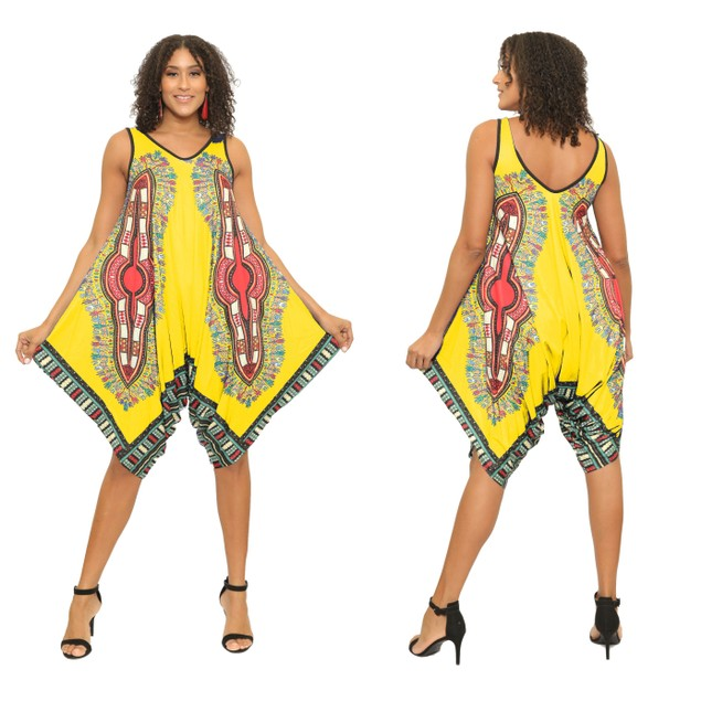 Dashiki Jumpsuit Romper Summer Print