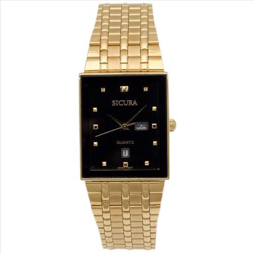 Sicura Men's Watches SJH 3494 52E Black Quartz Stainless Steel Gold Tone