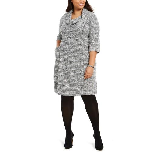 Robbie Bee Women's Plus Size Cowlneck Sweater Dress Black Size 2X