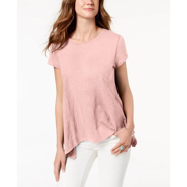 Style & Co Women's Handkerchief Hem T-Shirt Pink Size Large