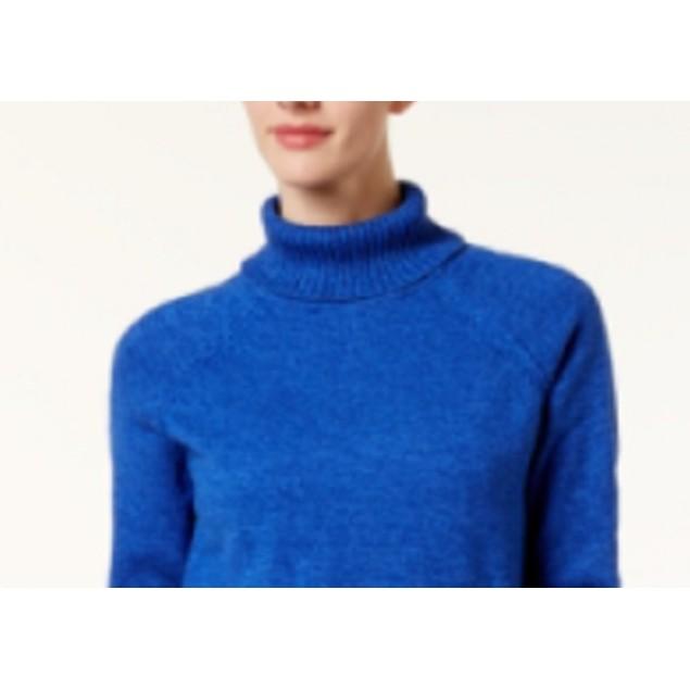 Karen Scott Women's Marled Cotton Turtleneck Sweater Blue Size Large