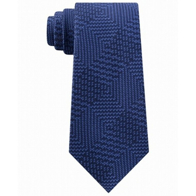 Michael Kors Men's Textured Geometric Patchwork Tie Blue Size Regular
