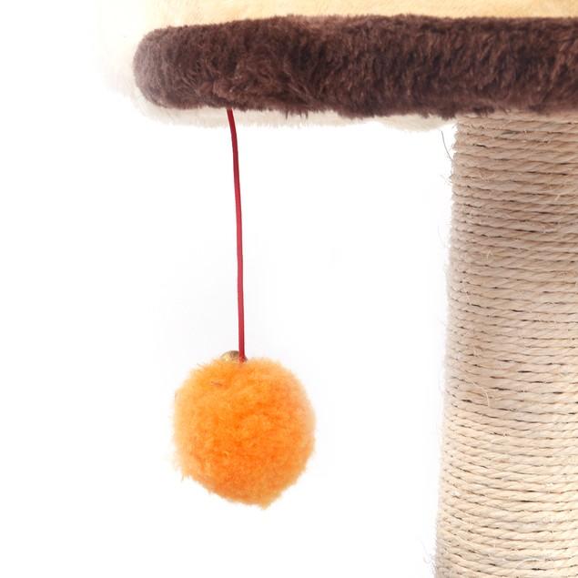 "19"" Sisal Hemp Cat Tree Brown Pet Toy"
