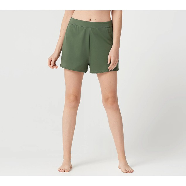 Denim & Co. Full Elastic Waistband Beach Swim Shorts, 12, Dark Olive