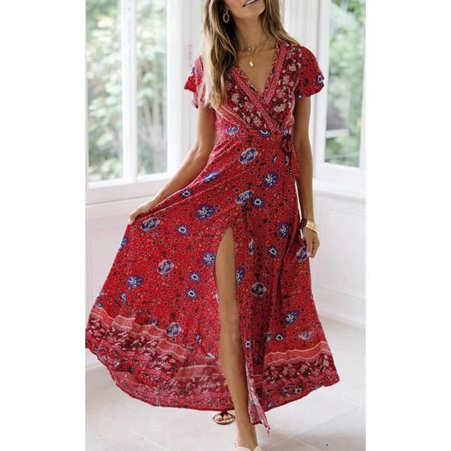 Women's Holiday Bohemian Printed Wrap Maxi Dress
