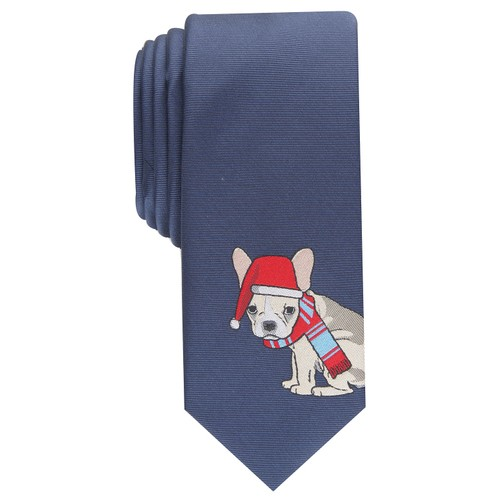 Bar III Men's Cozy Bulldog Skinny Holiday Tie Navy Size Regular