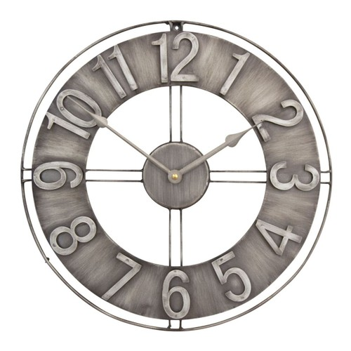 """Offex Home 15"""" Industrial Loft Wall Clock in Brushed Steel"""