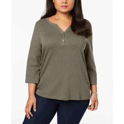 Karen Scott Women's  Plus Size Cotton Split-Neck Top Gray Size 2X