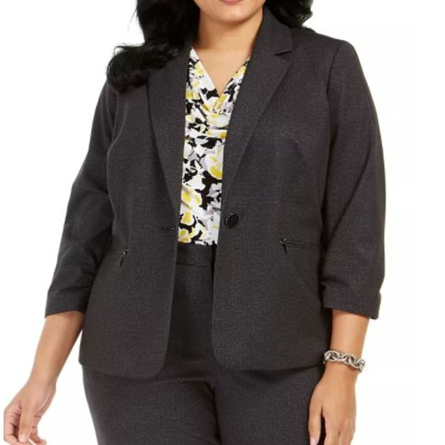 Kasper Women's Plus One Button Blazer Charcoal Size Petite Small